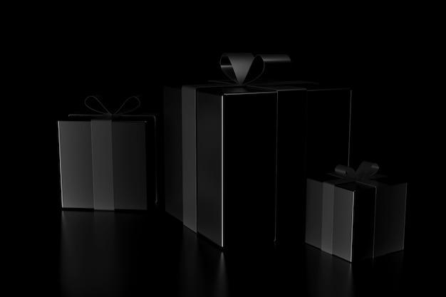暗闇の中でギフトボックスの光と影