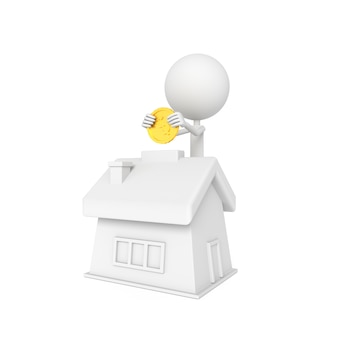 人のモデルと家の形を保存概念と貯金箱