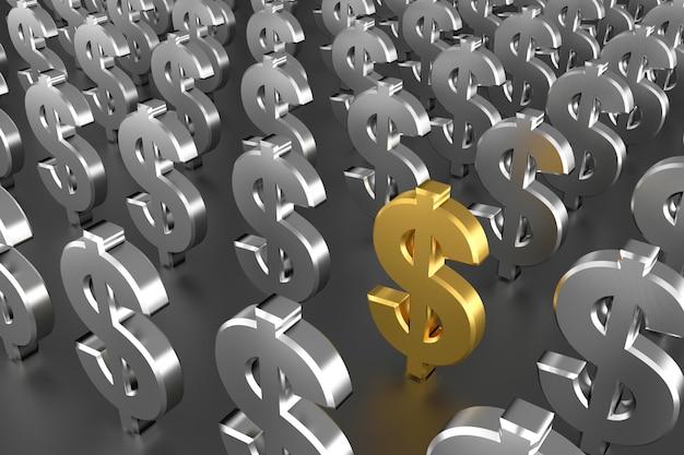 Золотой знак доллара посреди серебряных знаков доллара