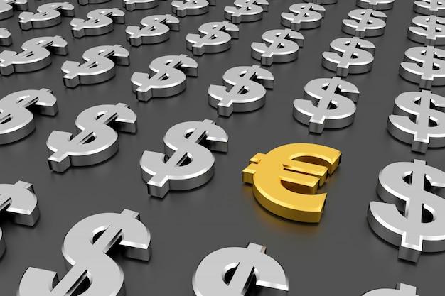 Золотой знак евро среди серебряных знаков доллара