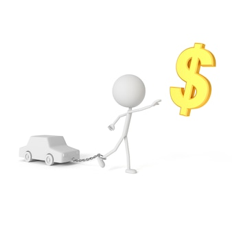 債務者の概念で車とチェーンの人々のモデル