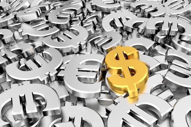 Золотой символ доллара посреди серебряных символов евро.