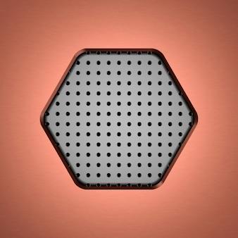 穴のある金属六角形