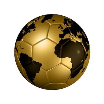 Золотой футбольный футбольный мяч глобус мира