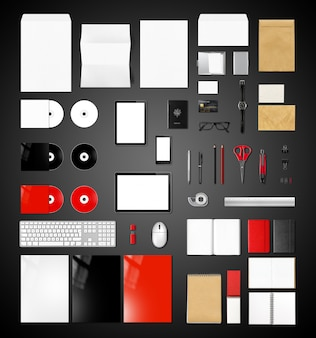製品ブランドモックアップテンプレート、黒の背景