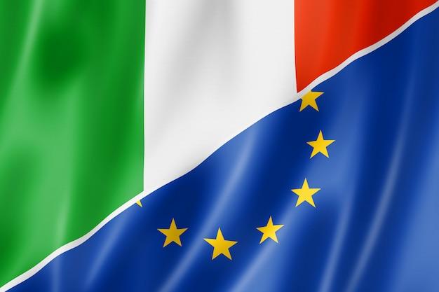 Флаг италии и европы