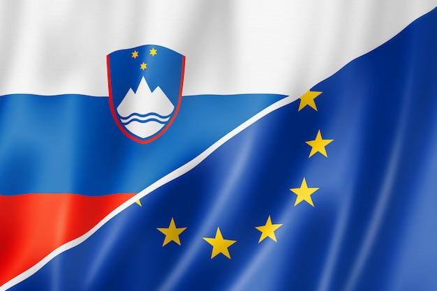 スロベニアとヨーロッパの旗