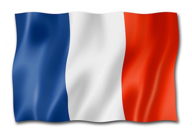 白で隔離されるフランスの旗
