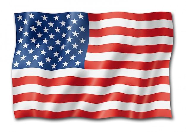 白で隔離される米国旗