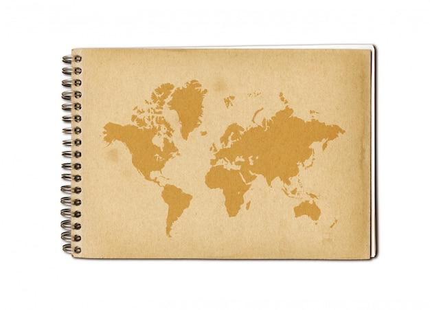 古いノートにヴィンテージの世界地図