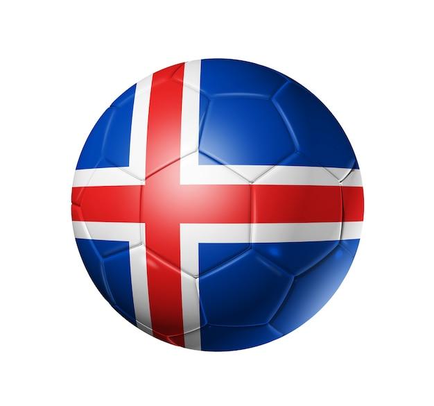 アイスランドの国旗とサッカーサッカーボール