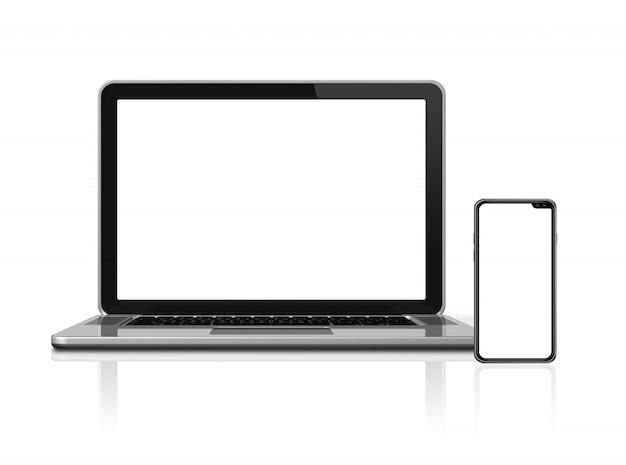 ノートパソコンとスマートフォンは、白で隔離のモックアップを設定します。
