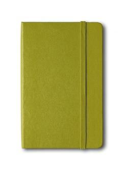 Оливково-зеленая закрытая тетрадь, изолированная на белом