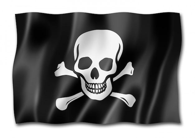 海賊旗、白で隔離されるジョリーロジャー
