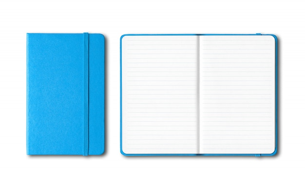 Голубой синий закрытые и открытые линованные тетради на белом