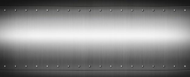 スチールリベットで磨かれたプレート。バナー背景テクスチャ。