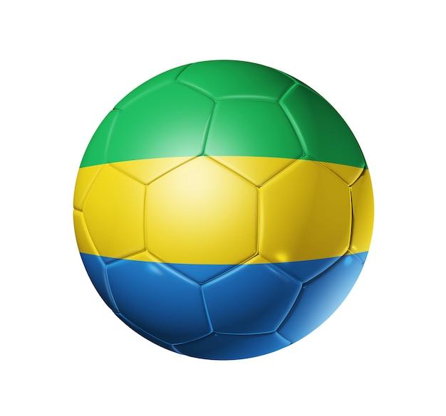 ガボンの旗とサッカーサッカーボール