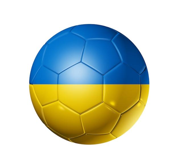 ウクライナの国旗とサッカーサッカーボール