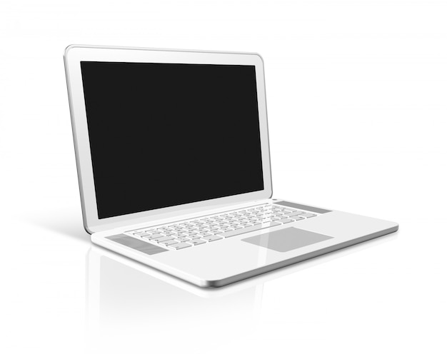 白で隔離される白いラップトップコンピューター