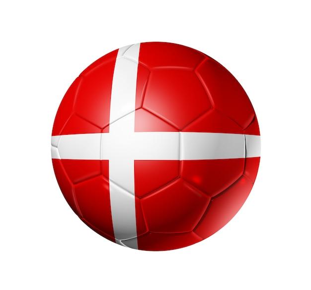 デンマークの国旗とサッカーサッカーボール