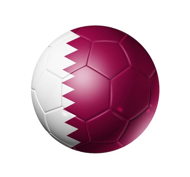 カタールの国旗とサッカーサッカーボール