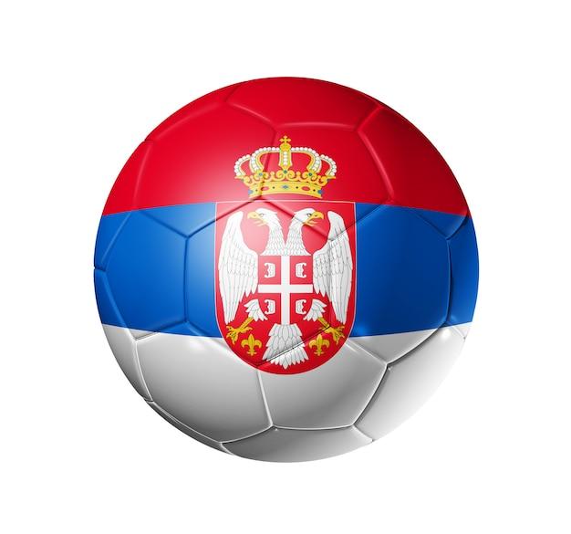 セルビアの国旗とサッカーサッカーボール