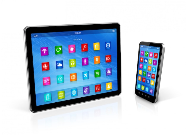 Смартфон и цифровой планшетный компьютер