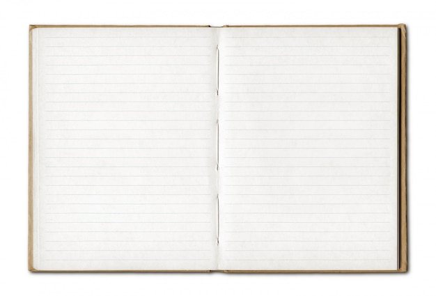 ビンテージの空白のノートブックを開く