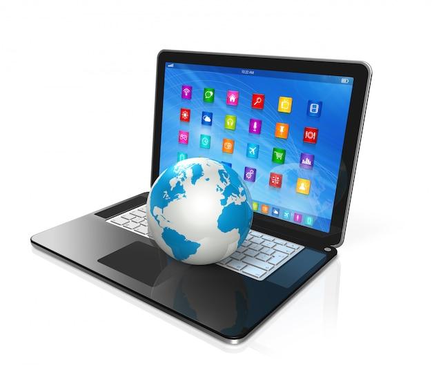 Портативный компьютер и глобус мира