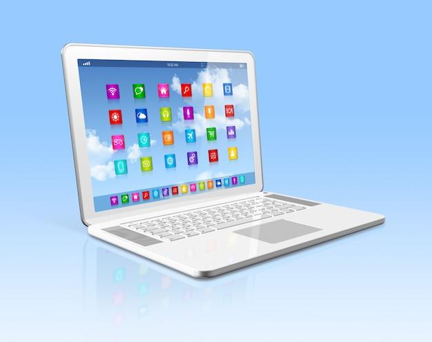 Портативный компьютер - интерфейс значков приложений