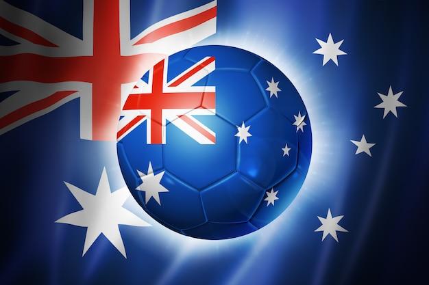 オーストラリアの国旗とサッカーサッカーボール