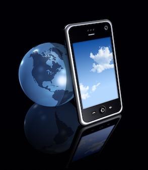黒い背景に三次元の携帯電話と地球