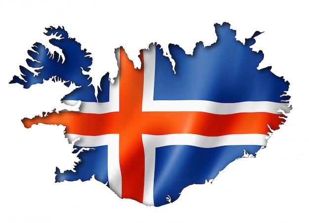 アイスランドの旗の地図