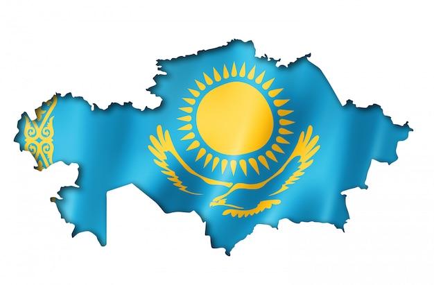 カザフスタンの旗の地図