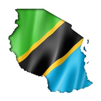 Флаг танзании на карте