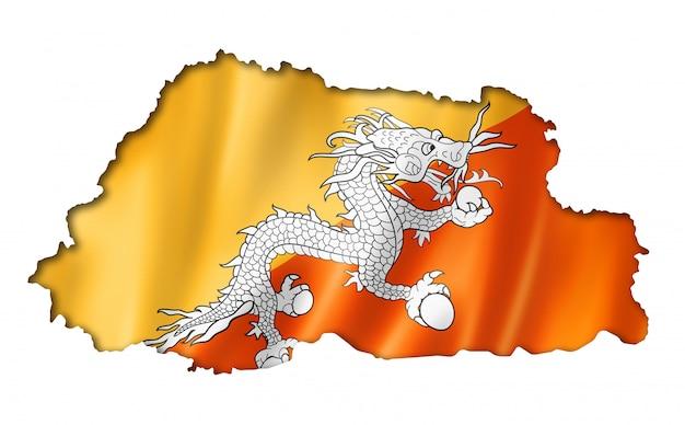 ブータン国旗地図