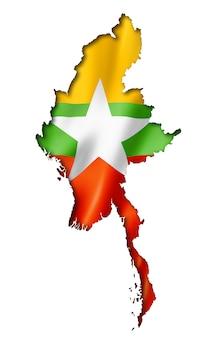 ビルマミャンマー国旗マップ
