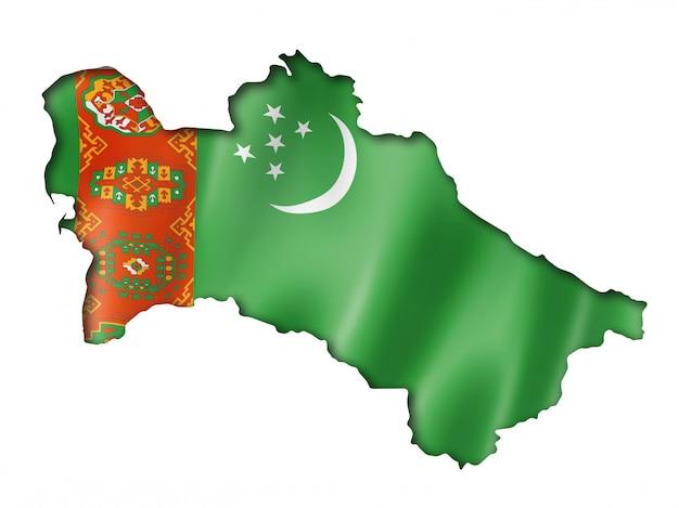 トルクメニスタン国旗地図