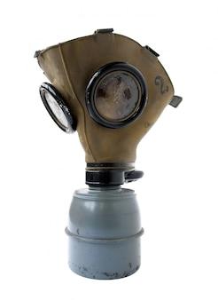 白い背景の上の古い防毒マスク