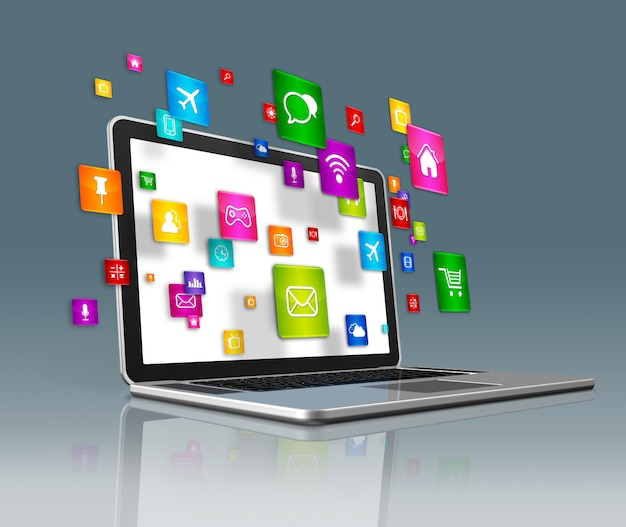 Портативный компьютер и летающие иконки приложений на футуристическом фоне