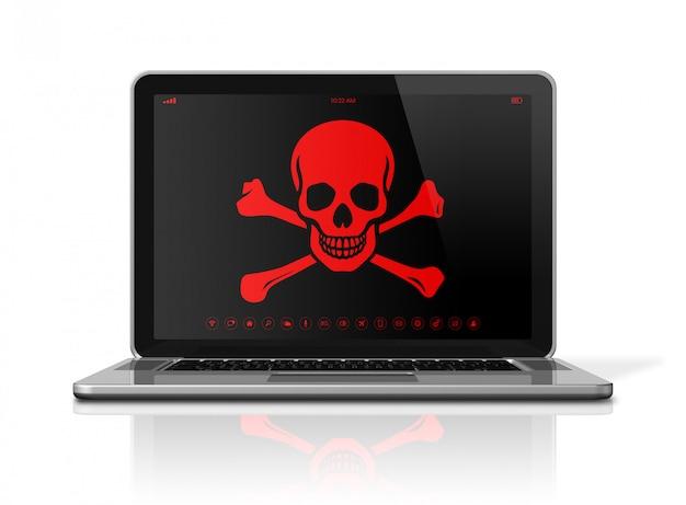 画面上の海賊のシンボルとラップトップ。ハッカーのコンセプト