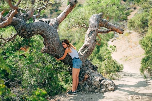 愛情を込めて夏にきれいな公園で木を抱き締める女の子