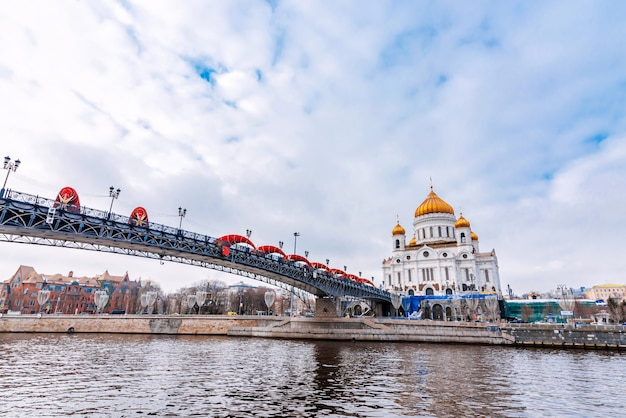 冬の日にロシアのモスクワで救世主キリスト大聖堂