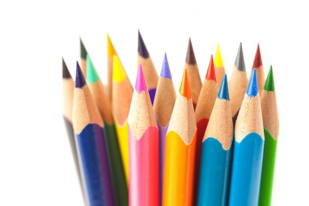 色鉛筆、白で隔離