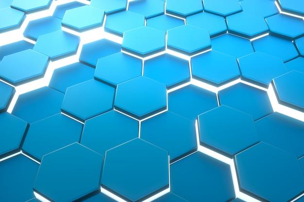 六角形の青いパターンの抽象的な現代的な背景。