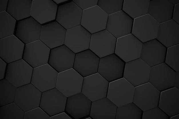 六角形の黒いパターンの抽象的な現代的な背景。