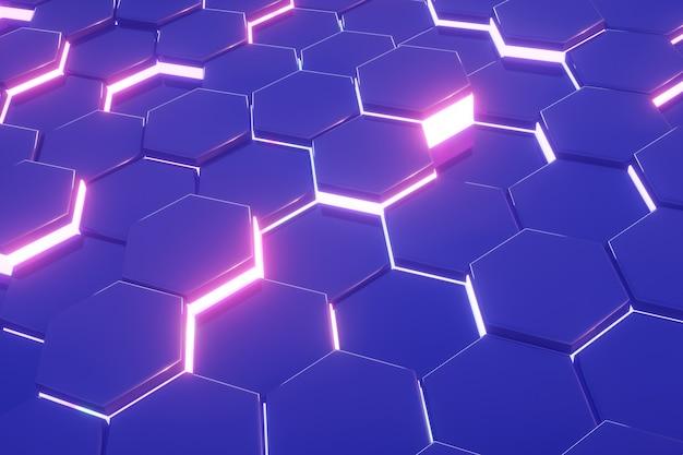 六角形の青いパターンモダンな抽象的な背景ピンクのネオン