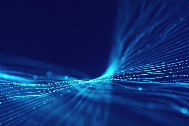 抽象的な未来的な青い背景。技術輝くライン