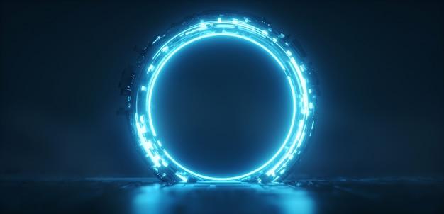 未来的な青い光るネオンラウンドポータル。サイエンスフィクションの背景。