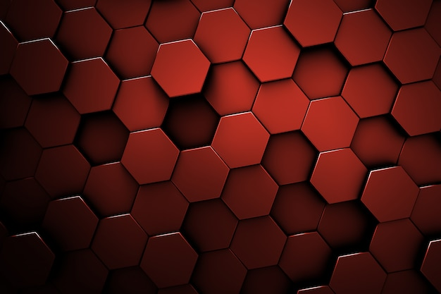 赤い六角形パターン。ハニカムテクスチャ。赤の抽象的な背景。